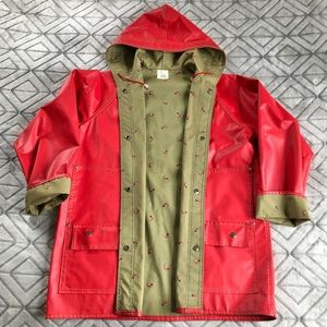 VINTAGE Red Raincoat with Duck Lining